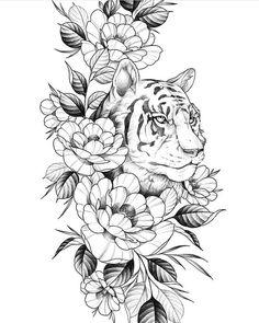 Excellent simple ideas for your inspiration Tattoo Femeninos, Tattoo Motive, Big Tattoo, Tattoo Sketches, Tattoo Drawings, Body Art Tattoos, Tiger Tattoo Design, Tattoo Designs, Hip Thigh Tattoos
