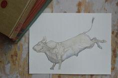 Brute || Orignal Watercolor Illustration || Bull || Animal Art || Rodeo Art || Farm || Barnyard || Cowboy || by Anthropomorphics on Etsy https://www.etsy.com/listing/183939456/brute-orignal-watercolor-illustration