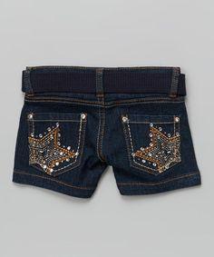 Loving this Navy Blue Star Rhinestone Shorts & Belt - Girls on #zulily! #zulilyfinds