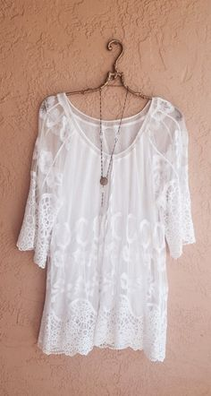 Bohemian vintage lace and crochet sheer tunic beach