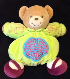 Kaloo Teddy Bear Feng Shui Lime Green Plush Soft Toy Comforter Four Blessings #Kaloo