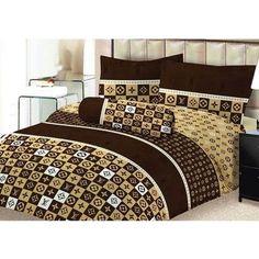 louis vuitton lv bedding g nstig billig preiswert kupfer satin seide bettw sche set 6 teilig. Black Bedroom Furniture Sets. Home Design Ideas