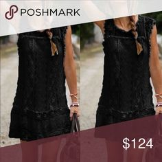 Boho Sleeveless Black Lace Mini Dress NWT This cute and flirty black Bohemian style dress is so cute, and versatile for most any season or occasion. Beautiful quality and soft, the fun pom poms are the perfect accent to this gorgeous lace.  True to size.  Please see all measurements detailed in the comments below.  Listing is for the black dress, yet we carry white too.  You will receive it quickly with manufacturer tags and original packaging.  We typically ship daily! (H) Dresses Mini