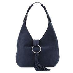 Tory Burch Suede Tassel Hobo Bag, True Navy ($595)