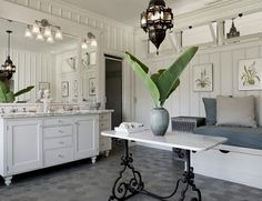 i love that hanging light and the little table in the center of the room  #home #decor #bathroom