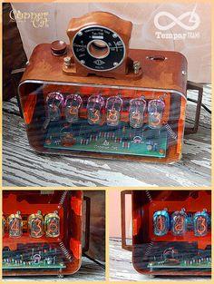 "Nixie Tubes RGB Alarm Clock 6x IN-12 ""Tempar Trans"" by ""Copper Cat Art Group"" Steampunk Retro Vintage"