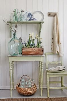 Aqua glass bottles and sage green painted furniture -- VIBEKE DESIGN