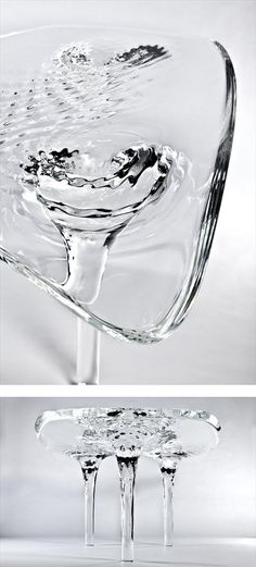 LIQUID GLACIAL TABLE - #designed Zaha #Hadid #table #interiors #glass #water #white