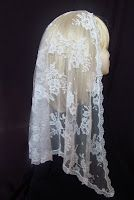 Veils by Lily - Mantilla-style chapel veils: Long White Chantilly Lace Mantilla