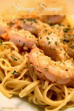 Shrimp Scampi with Linguine - You can put this beautiful dish together in 20 minutes or less using frozen cooked shrimp! The parmesan cheese and seasoned bread crumbs are the magic ingredients to this dish. {BitznGiggles.com}