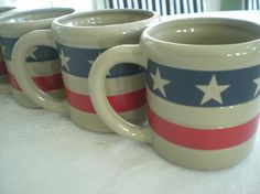 Set of Patriotic Mugs Stars and Stripes Forever Red White Blue Coffee Mugs