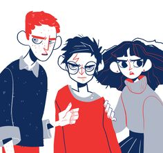 Ron Weasley, Harry Potter, and Hermione Granger by Julia Trouvé