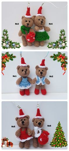Mini Christmas bear crochet amigurumi animals toys miniature animals cute bear little teddy bear mini toys plush bear gift Christmas gift  This cute mini bear is made to my own original design in quality acrylic yarn. She is made in a soft shade of brown with red dress. Features are hand embroidered and all parts are securely sewn.   She measures approximately 9 cm (3,5 inches)
