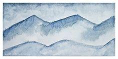 Misty Blue Mountains, watercolour by Evelyn Flint
