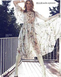 Angela Lindvall in Dolce&Gabbana dress, Elle Russia March 2014