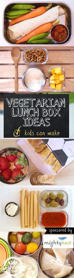 Increase the fruit and veggie intake! A week of Vegetarian Lunch Box Ideas Kids Can Make themselves