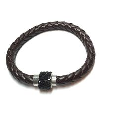 "Black braided bracelet with magnetic Crystal clasp Black braided bracelet with magnetic crystal clasp 7 1/2"" Jewelry Bracelets"