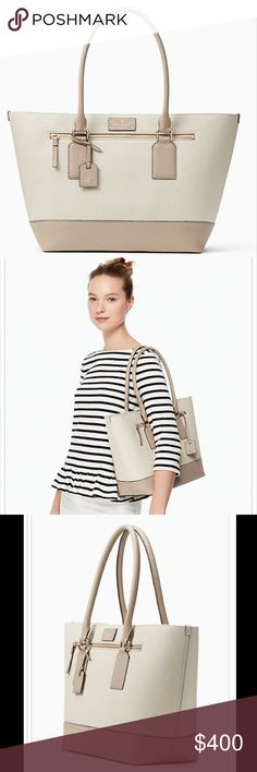 NWT Kate Spade Bay Street  Medium Harmony Gorgeous leather NWT Kate Spade Bay Street Medium Harmony in stone/warm putty color. This neutral bag is gorgeous and will go with anything! New in original wrapping. Also available in Black! kate spade Bags Totes