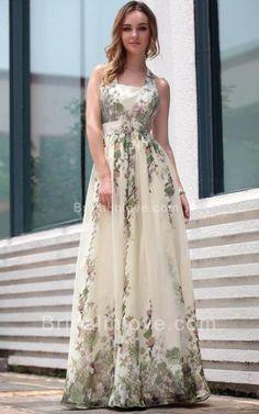 A-line Halter Floor Length Jacquard Prom Dress