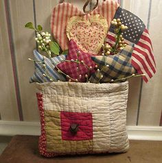 PRIM Americana Patriotic QUILT POCKET made from c. 1880s Log Cabin ANTIQUE QUILT