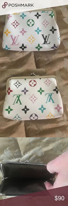 Louis Vuitton Large Coin Purse Gorgeous white multicolor monogram LV coin purse. This is an inspired Louis Vuitton coin purse, brand new, extra large 4 1/2H and 5 1/2L, and real cowhide leather. If you just want to carry something small but still have all the essentials......this is what you're looking for!!! It can hold your iPhone, credit cards and I'D and still have room for some cash and lipstick/lip gloss. Doesn't have code. Please feel free to make an offer (THRU OFFER OPTION) price is…