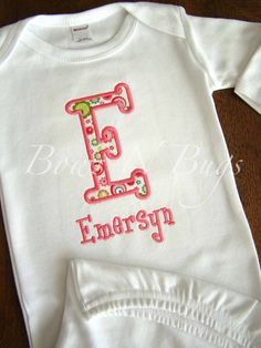 Adorable Appliqued Initial Newborn Layette Gown With by bowsnbugs, $20.00 ---loooove the name Emersyn & the spelling!