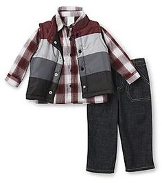 WonderKids Infant & Toddler Boy's Shirt, Jeans & Vest - Plaid - Baby - Baby & Toddler Clothing - Collections & Sets