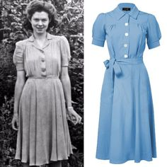 thinking about the great Shirt Waister dress. The most iconic dress - the epitome of wartime styling, Practical, demure, elegant and classy - all the hallmarks of the We spent many hours mastering this one! dresses New Vintage Clothing & 1940s Outfits, 1940s Dresses, Vintage Outfits, 1940s Fashion Dresses, Moda Vintage, Vintage Stil, Vintage Fashion 1950s, Retro Fashion, Club Fashion