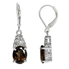504ct Natural Smoky Quartz White Gold Plated 925 Sterling Silver Leverback Dangle Earrings ** Be sure to check out this.