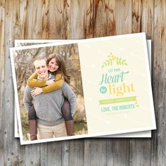 Custom Holiday Photo Cards: Heart Be Light, Christmas Card, Printable, Personalized, Digital File, 5x7