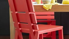 Build a Stylish Dining Chair: These contemporary wooden dining room chairs are a simple way to add color and style to your kitchen. Plus, they're a great beginner's woodworking project thanks to the use of simple cuts and basic tools. **Note: I think these would be great on the back porch!