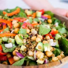 Chickpea and Lentil Salad Lentil Salad Recipes, Vegetarian Recipes, Healthy Recipes, Healthy Cooking, Healthy Eating, Healthy Lunches, Salads For Kids, Macro Meals, Chickpea Salad