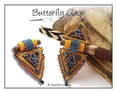Beading Pattern, Intermediate Tutorial ,  Detachable, Peyote stitch, Triangle shaped, Beaded Clasp, Beading Instructions BUTTERFLY CLASP by HeatherCollinBeading on Etsy https://www.etsy.com/listing/76466521/beading-pattern-intermediate-tutorial
