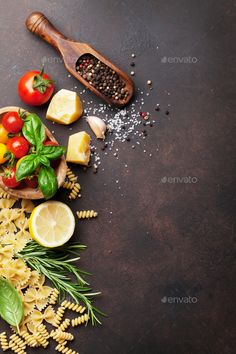 Pasta ingredients by karandaev. Pasta ingredients on stone table. Top view with space for your text food photography Restaurant Recipes, Seafood Recipes, Indian Food Recipes, Appetizer Recipes, Italian Pasta Recipes, Italian Fast Food, Italian Foods, Wedding Buffet Food, Food Buffet