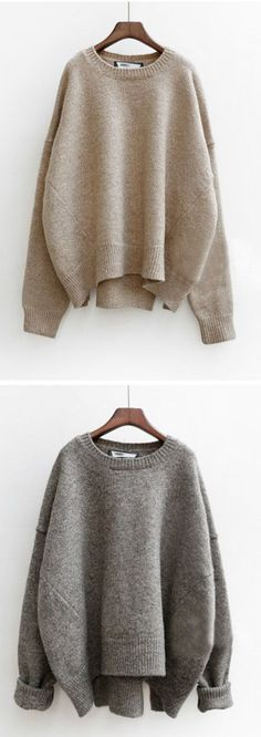 Women's Heathered Round Neck Asymmetric Knit Sweater