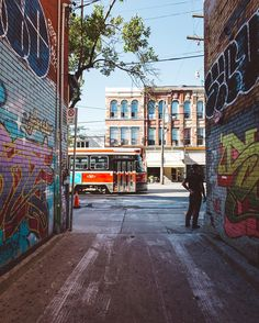 The colorful Graffiti Alley in the Queen West district of Toronto.