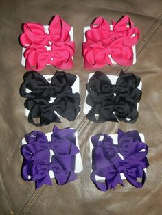 3 inch Pigtail bows- Can be made in pretty much any color you can think of!* Come on a lined alligator clip  $6 per set    Order yours today! ©2011Hairbows*N*More