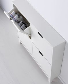 IKEA - STÄLL, Shoe cabinet with 4 compartments, white, , Helps you organize your shoes and saves floor space at the same time.In the shoe cabinet your shoes get the Ikea Organization, Ikea Storage, Small Storage, Entryway Shoe Storage, Medicine Organization, Attic Storage, Closet Storage, Ikea Design, Entryway Lighting