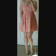 LC Lauren Conrad sun dress Soft pink floral cotton mini sun dress with fitted bust and spaghetti straps. Excellent condition and a beautiful fit. LC Lauren Conrad Dresses