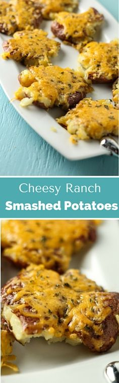 These cheesy ranch smashed potatoes are like making pre-loaded mini bake potatoes for dinner. 30 minute meal too!