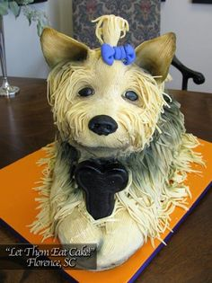 Yorkie Dog Cake made with Modeling Chocolate by Let Them Eat Cake!