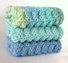 Knit Dishcloths Washcloths Hand Knitted Cotton Spa Face Wash Cloth