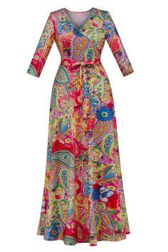 V-Neck Floral Print Bow Maxi Dress