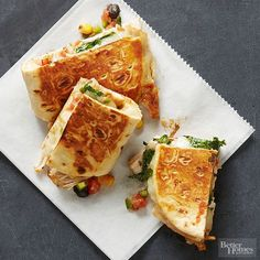 Ingredients: flatbreads, cheese, turkey, salsa, cilantro  Taco-infused panini are the perfect infusion of ethnic flavor into your weeknight dinners. Customize the Mexican-style sandwiches with the salsa you choose -- pick one that is thick and chunky for best results.