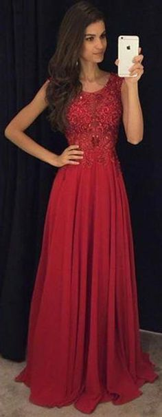 Elegant Sleeveless Lace Appliques Chiffon Red Prom Dress 2016. https://www.junebridals.com/fit-and-flare-sleeveless-red-evening-dresses-2016-lace-appliques-chiffon-p324698.html.   Free Shipping! JuneBridals selected the best prom dresses, party dresses, cocktail dresses, formal dresses, maxi dresses, evening dresses and dresses for teens such as sweet 16, graduation and homecoming. #prom #dress