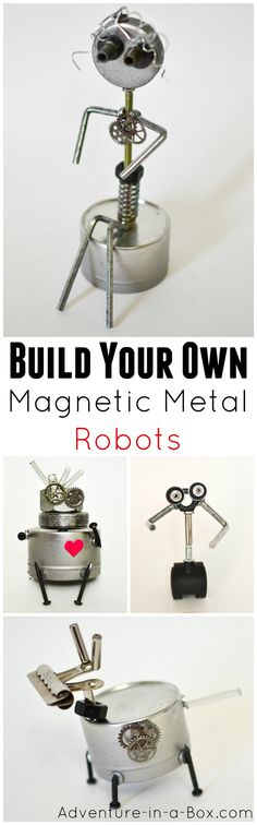 Build Magnetic Metal Robots: STEAM Activity for Kids Magnetic scrap metal sculptures, robots and machines. Quirky steampunk-inspired craft and fun STEAM building project for kids! Stem Science, Science Experiments Kids, Science Fair, Science For Kids, Stem Projects, Science Projects, Projects For Kids, Robotics Projects, Steam Activities