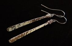 Silver dangle wire wrapped earrings Icicle by HummingBirdEggs