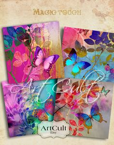 Digital para imprimir descargar MAGIC TOUCH 3.8x3.8 por ArtCult Collages D'images, Printable Images, Image Collage, Butterfly Images, Alcohol Ink Art, Art File, Vintage Tags, Vintage Crafts, Northern Lights
