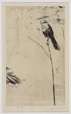 "Woodblock lithography; ""The Shrike"" by Tadashi Kobayashi"
