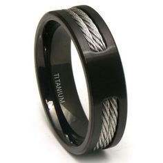 This is it! We'll finally have matching wedding bands!! Black Titanium Double Cable Wedding Band Ring